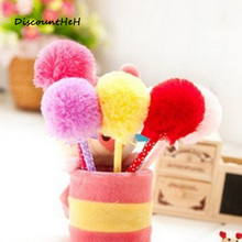 1 pcs cute stationery bowknot hair ball ballpoint pen plush pen student supplies(China)