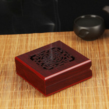 Chinese Carved Hollow Square Box Annatto Wooden Sandalwood Coil Incense Burner Aroma Incense Base Plate Censer Buddhhist Suply(China)