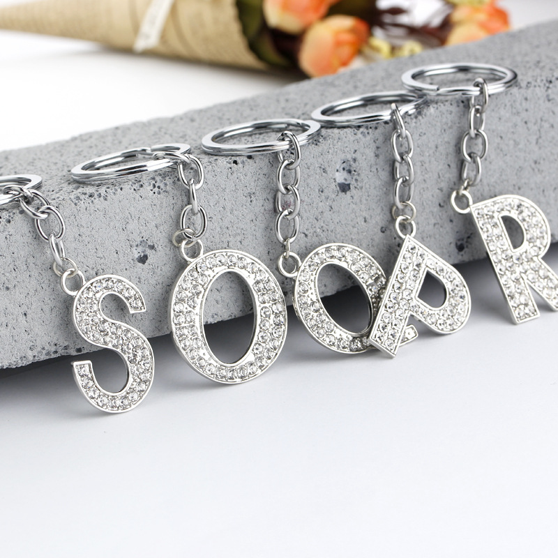 YAVONA Wholesale Lots 26 pcs Charms DIY Crystal Capital Letters Key chains Jewelry Keyfob Keyrings for Women Men A-Z