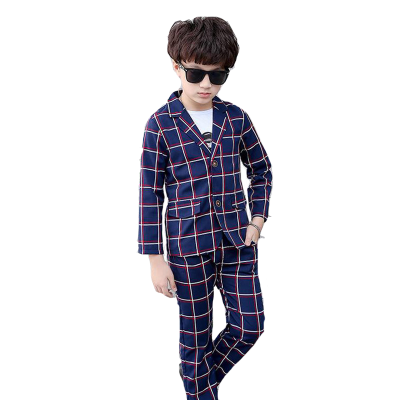 Boys Clothing Sets Plaid School Uniforms For Boys Coat &amp; White T-Shirt &amp; Pants 3Pcs Students Outfits Formal Wedding Blazer Suits<br>