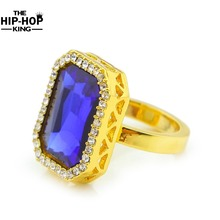 Gold color Hip Hop rhinestone Ring Iced Out Rhinestone Mens Ring Rhinestone Studded Faux Blue Tone Square Fashion Ring