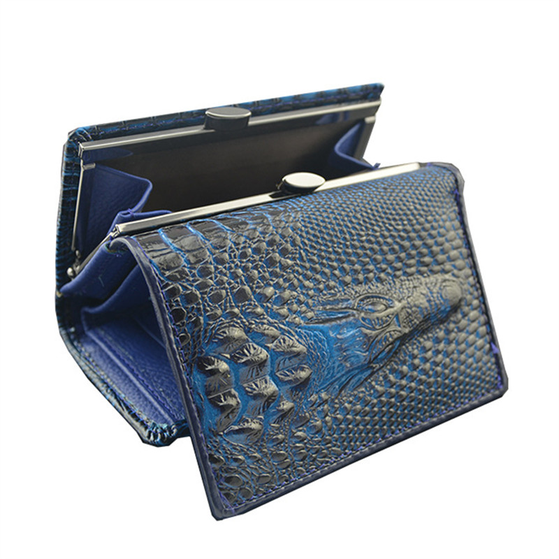 3-layer patent leather wallet crocodile pattern patent leather mens purse European and American style retro short wallet<br><br>Aliexpress
