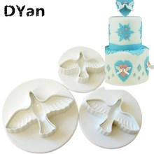 Free Shipping 3pcs /set Dove Shape Cake Decorating Fondant Lacing Plunger Cutters Tools Mold Flowers(China)