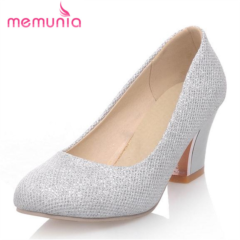 MEMUNIA Large size 32-43 women shoes pumps round toe work shoes square heels shoes contracted elegant shallow single shoes <br><br>Aliexpress