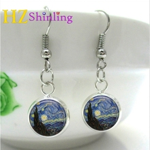 NHE-001 Van Gogh Starry Night Earring Glass Dome Cabochon Art Photo Earrings Self Portrait Painting Jewelry Gifts Girl