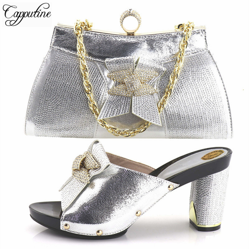 Capputine High Quality Italian Ladies Shoes And Matching Bags African Style Woman Shoes And Bags Set Size 37-43 Shipping DHL