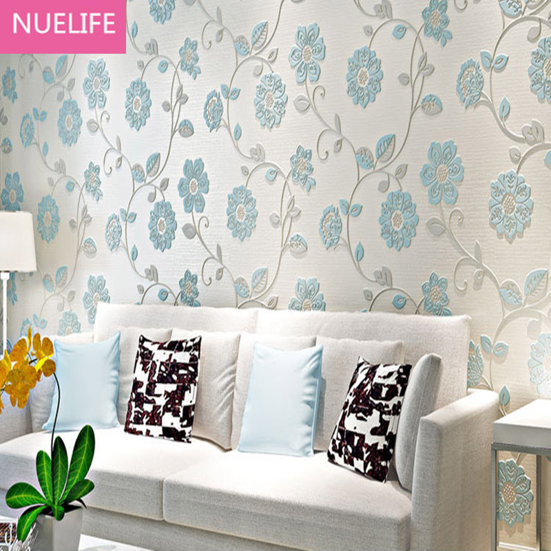 0.53x10m 3D Cosy Floral Wallpaper Durable Thicken Non-woven  Mural Flower Wallpapers Rural Papier Living room bedroom0.53x10m<br>