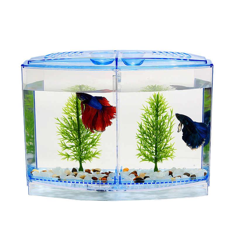 53156ebe9812cf Аквариум акрил двойной Бетта чаша боевые рыбы мини-дом-инкубатор поле для  мальков изоляции