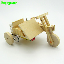 Happyxuan Kids DIY Assembly Electric Three Wheeled Motorcycle Wooden Model Kit Child Physical Science Experiment Toys Education(China)
