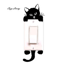 New Cat Wall Stickers Light Switch Decor Decals Art Mural Baby Nursery Room Home Decorations Adesivo de paredes Removable DIY