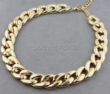Vintage Gold Color Chunky Chain Necklace For Women Long Chian CCB Plastic Female Collar Necklace 2017 New Fashion Jewelry(China)