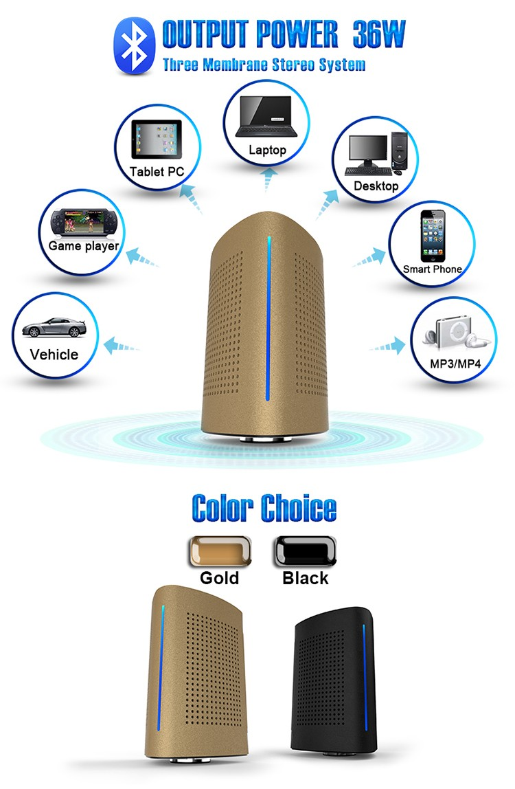 ADIN 36W Bluetooth Speakers High Power Vibration Speaker Metal Three Units NFC Stereo 3D Surround Touch Computer Phone Speaker (2)