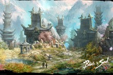video games fantasy art artwork MMORPG villages Blade and Soul  cloth silk art wall poster and prints