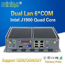 Minisys Low power mini itx computer intel celeron J1900 quad core dual lan barebones fanless industrial pc with parallel port(China)