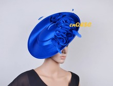 2017 NEW Royal blue ARRIVAL! Large Matte satin fascinator sinamay hat Formal dress hat for Wedding Races.FREE SHIPPING