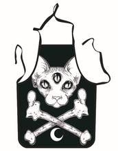 Funny Aprons Skull Cat Printing Adult Kitchen Apron Dinner Party Cooking Apron Cozinha Tablier Cuisine Pinafore Adult