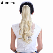 #613 Bleach Blonde 18 inches Long Ponytail Clip in Hair Extensions Claw on Hair piece Wavy Synthetic real thick natural