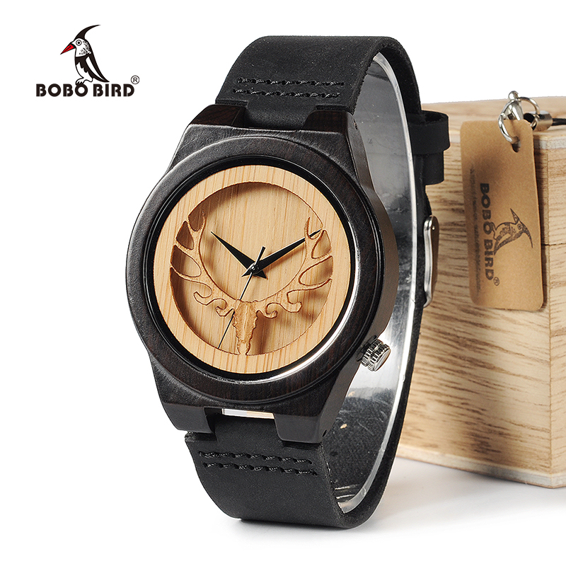 BOBO BIRD WB18 Deer Skeleton Black Wood Watches Leather Band Mens Top Brand Quartz Watches Wooden Box relogio OEM