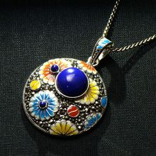 S925 silver jewelry retro national Cloisonne drip Lapis Pendant inlaid craft Ms.(China)