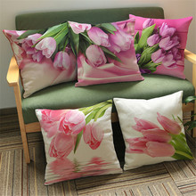 Modern Country Style Pink Flower Tulip Linen Cotton Cushion Cover Decorative Sofa Car Chair Pillow Case Textile(China)