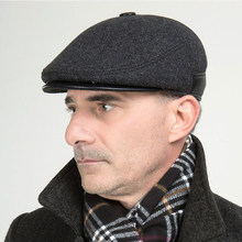Season Discount High Quality Men's Wool Caps Hats Forward Ear Protect 56-62CM Size Great Gift for Older Men Free Shipping