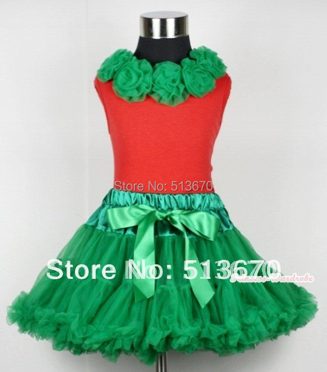 Christmas Kelly Green Pettiskirt with Matching Kelly Green Rosettes Red Tank Top MAM342<br>