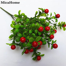 High Simulation Eucalyptus Fruit Red Eucalyptus Happy Fruit Grass Leaves Artificial Plants Home Decorations Free Shipping