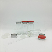 Free Shipping 10ml clear glass vials with flip off caps & rubber stoppers, 1/3 oz injection glass bottle, pharmaceutical bottle(China)