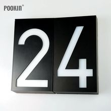 Solar Doorplate Number Outdoor Lighting Billboard Light 6 LED Light Sign House Hotel Door Address Plaque Number Digits Plate(China)