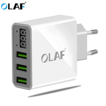 OLAF 3 Port USB Phone Charger LED Display EU/US Plug The Max 2.4A Smart Fast Charging Mobile Wall Charger for iPhone iPad Xiaomi(China)