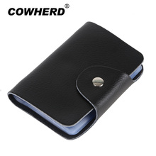 COWHERD Hot Selling 100% Genuine Cow Leather card holder Korea Fashion Women&Men's Name Bank Credit Card Holder Wallet(China)