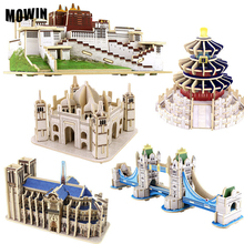 Taj Mahal London Bridge Church Buiilding 3D Wooden Puzzle Jigsaw England France Famous Coustruction Model Toys Kids Nice Gifts