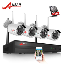 ANRAN 2017 New Plug And Play 4CH Wireless NVR Kit P2P 720P HD Outdoor IR IP Video Security CCTV Camera WIFI  Surveillance System