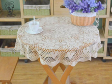 Hand Crochet Flower Cotton Round Tablecloths Wedding decoration Table cloth Beige / White 85CM Cover cloth  Home Textile