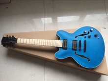2016 new + factory + Transparent blue Chibson es335 7 strings jazz guitar semi-hollow arched top ES 335 jazz electric guitar(China)