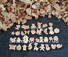Free shipping W0125 Mixed Cartoon Pattern Natural Color Wooden Buttons Handmade Accessory 200Pcs/lot