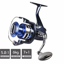 2017 Russian Style Spinning Fishing Reel Blue Max Drag 6kg 7+1BB Aluminum Spool Fishing Wheel + Spare Spool(China)