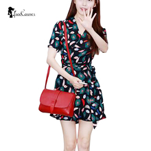 Top Fashion Women Spring Cute A-line Print Mni Dresses V-neck Empire Sashes Short Sleeve Picture Color 2017 Clothing Size S-XL