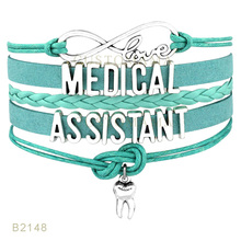 (10 PCS/Lot) Infinity Love Medical Assistant Tooth Charm Wrap Bracelets For Women Jewelry Pink Turquoises Black Leather Bracelet