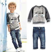 2016 Brand Boy Autumn Spring Sport Cartoon Car Clothing Set Long Sleeve Top+Jeans Boy 2 Pieces School Fashion Clothes Set Hot