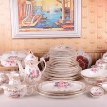 Free shipping 72-piece European luxury handmade embossed gilt palace bone china dinnerware set pink flower with Coffee Set