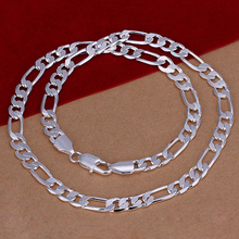 2017 925 sterling silver Necklace Mens Figaro Chain 8MM choker necklaces pendant chains 925 silver fashion jewerly 20inch(China)