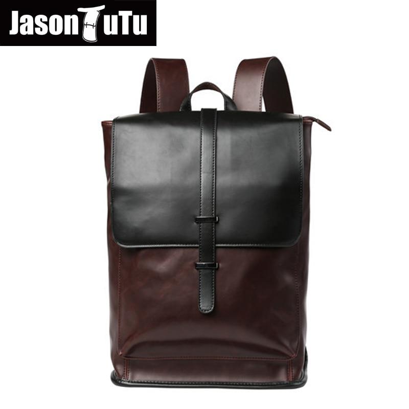 JASON TUTU 2017 mochila vintage good quality PU leather backpack men travel laptop backpack school bags for teenagers B260<br>