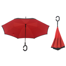 Double Layer Windproof C-Handle Inverted Upside Down Umbrella Self Standing Gift