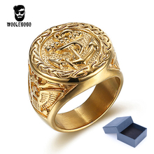 Buy WooLeGoGo Punk Biker Anchor Signet Rings Men 316L Stainless Steel Luxury Gold Rings Vintage Mens Jewelry Ring Bagues Homme for $4.49 in AliExpress store