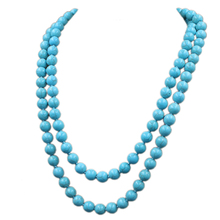 Kakee Fashion Turquoises Round Bead Strand Statement Necklaces Stone Long Necklace for Women Minimalist Jewelry Gift