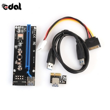 EDAL 60cm PCI Express PCI-E 1X to 16X Riser Card Extender PCIE Adapter + USB 3.0 Cable & 15Pin SATA to 4Pin IDE Power Cords(China)