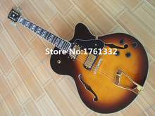 Factory Custom semi-hollow double f holes TS gold hardware JAZZ electric guitar with flame maple,black pickguard,can be changed