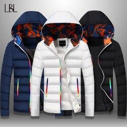 Мужская облегающая куртка-бомбер LBL, ветронепроницаемая плотная парка на молнии, теплая куртка с капюшоном для осеннего сезона, верхняя оде...