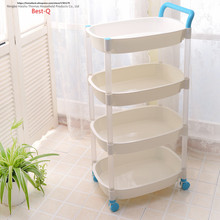Free shipping fruit dish basket frame kitchen shelf plastic shelf living room storage shelf storage rack mobile cart